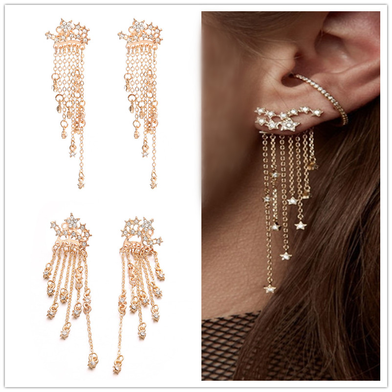 Stud Earrings Female Fashion Accessories After Shining Stars Tassel Hanging Female  Earrings Dropship Fashion Earrings For Women