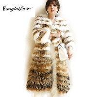 Fang Tai Fur 2019 Fox Fur Raccoon Dog Fur Coat Full Full Sleeve Mink Coat Striped Contrast Color V Neck Long Slim Mink Fur Coats