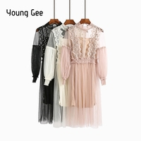 Young Gee Spring Summer Runway Designer Womens Dresses Pink Sweet Crystal Floral Lace Stretchy Waist Lantern