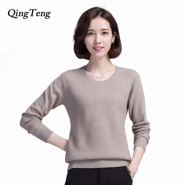 QingTeng 100% Pure Cashmere Sweater O neck Long sleeved Twist ...