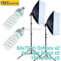 2 STKS 50x70 cm Foto Video Studio Licht Lamp Buis Softbox softbox E27