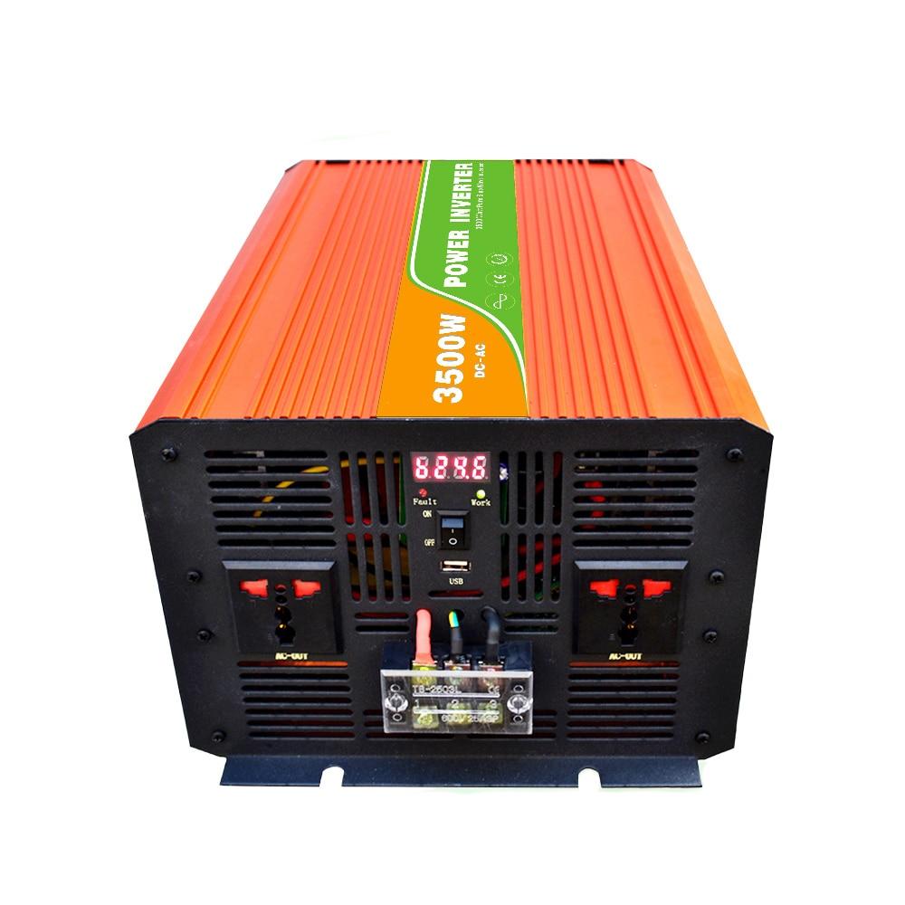 Onduleur numérique 12VDC (10-15VDC) 3500 W hors réseau à 100-240VAC, onduleur solaire à onde sinusoïdale Pure Power7000W avec USB