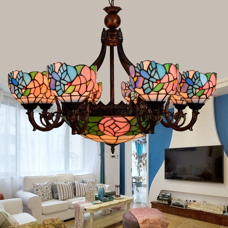 European Retro Bird Rose 6 8 Heads Living Room Dining Chandelier Tiffany Stained Glass Foyer