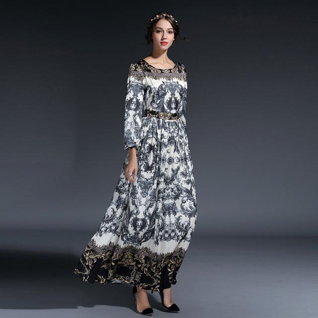 d9ccdfd6cd4b ... Fleepmart HIGH QUALITY New Fashion 2019 Women's Elegant Lantern Sleeve  O-Neck Retro Floral Printed ...