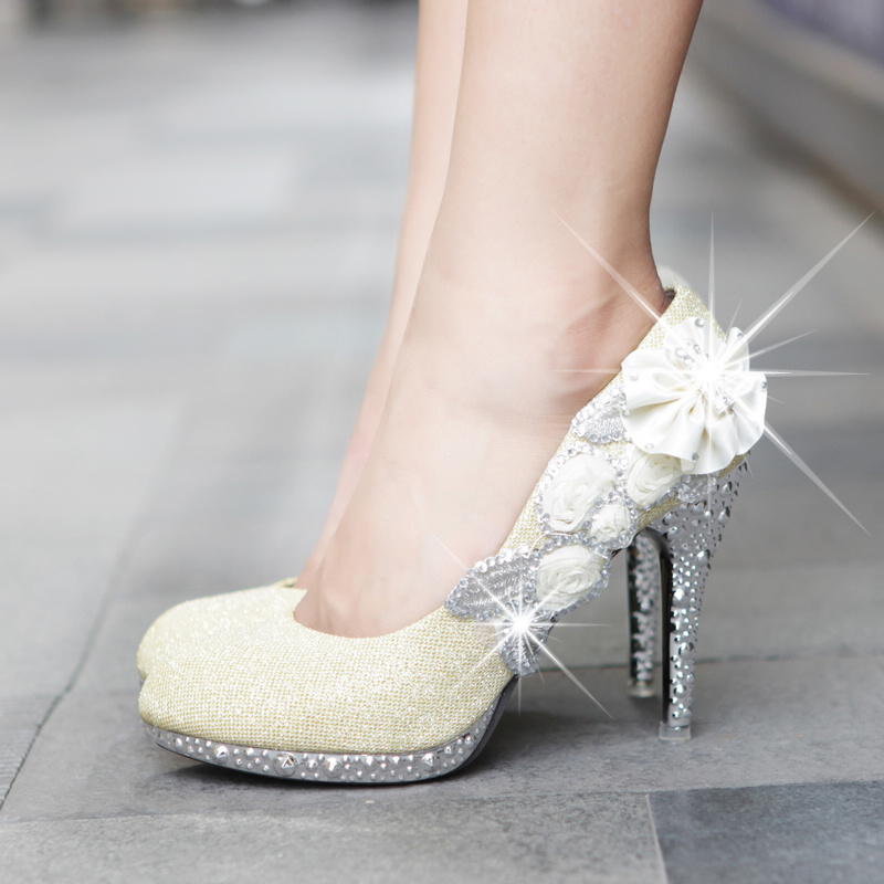 Flower Gold Shoes Rhinestone Pumps High Heeled Shoes White