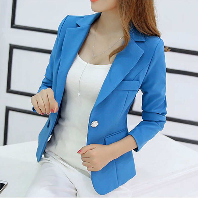 Frauen Herbst Blazer Langarm Single Button Damenjacke Büro OL Slim - Damenbekleidung - Foto 5