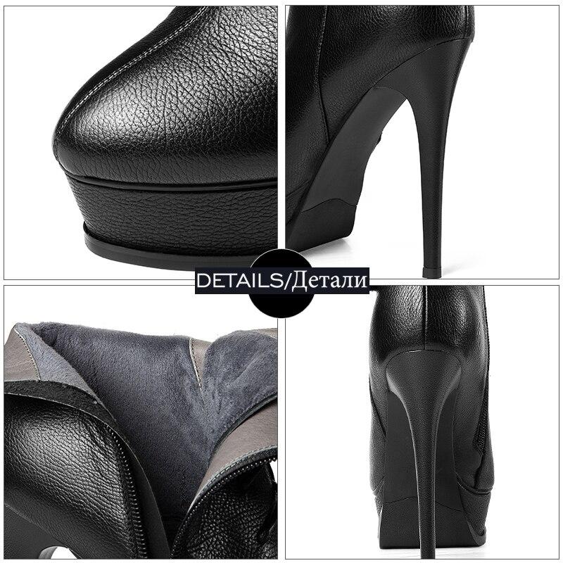 Bottes Plate Cuir 2018 Nouveau Talons forme Femme Zip Wetkiss Hiver Véritable Chaussures Bout Cheville Noir En rouge Rond Femmes Hauts nRnBSXq