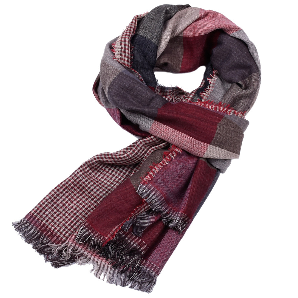 Men scarf plaid woven 2019 men scarf artificial wool winter double sided fringe men 39 s scarf gt 175cm 4 colors in Men 39 s Scarves from Apparel Accessories