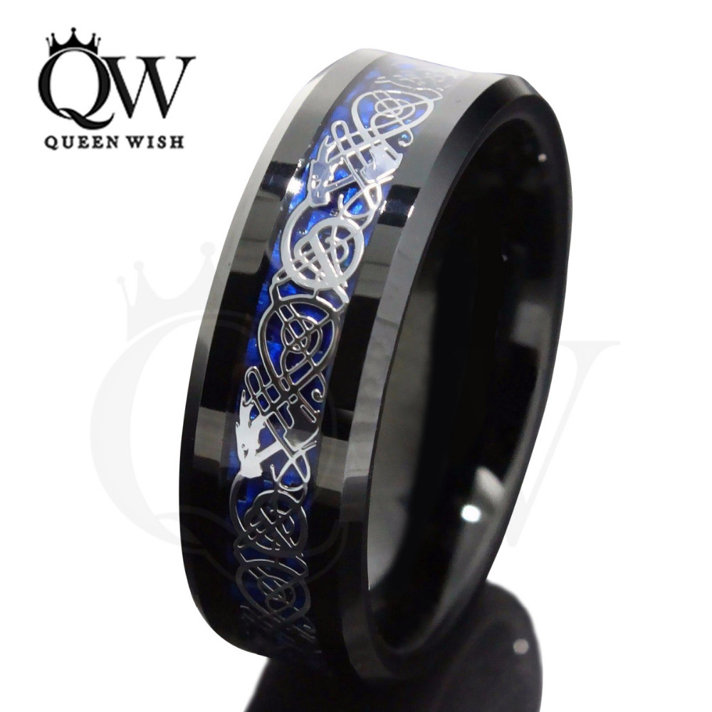 queenwish black blue celtic dragon tungsten ring knot