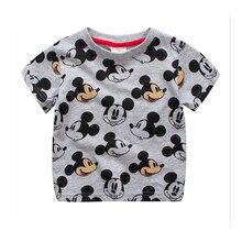 Модная детская футболка для мальчиков, хлопковые футболки с короткими рукавами и рисунком мышки, стильная одежда для мальчиков, Детская футболка для детей 18 мес.-7 лет