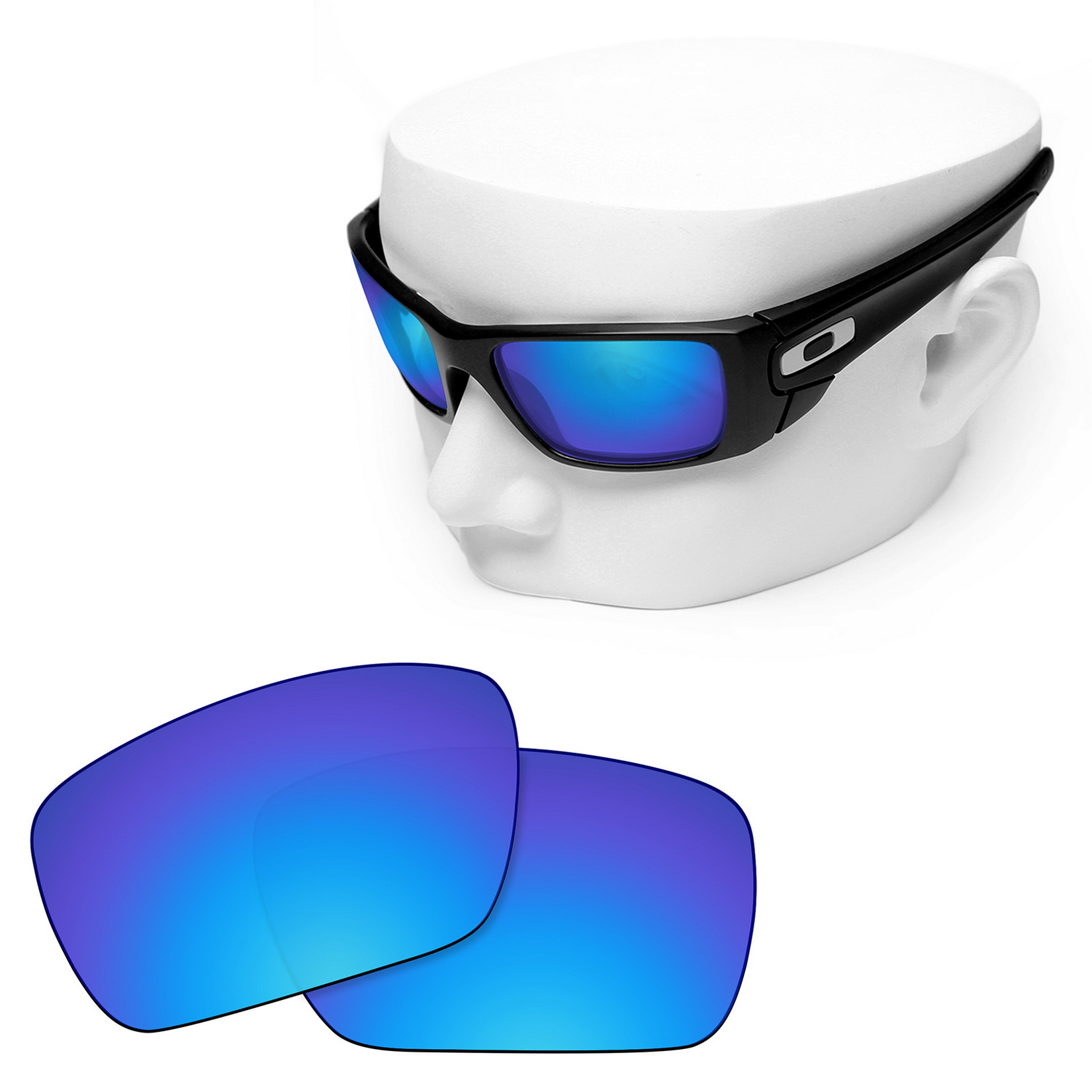 OOWLIT Polarized Replacement Lenses Blue Mirror For-Oakley Fuel Cell Sunglasses