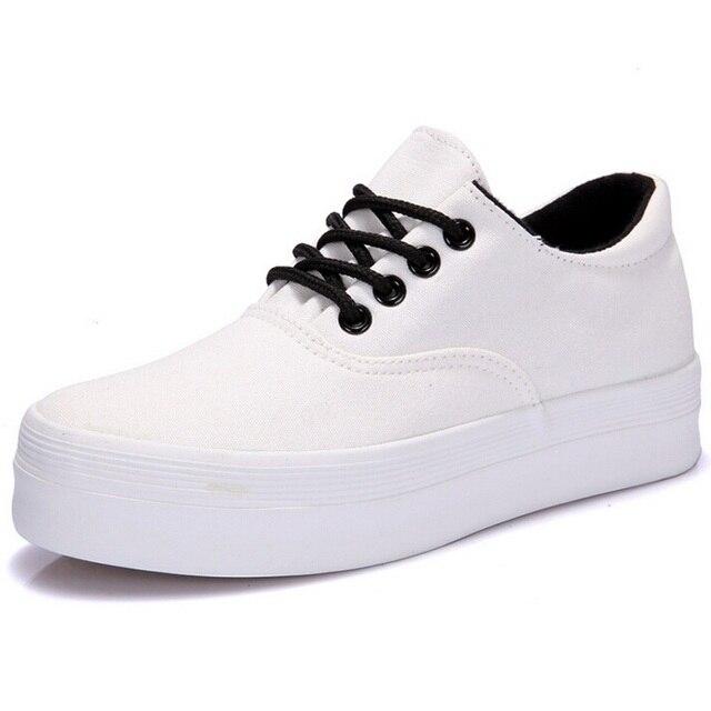 Mulheres das sapatas de lona 2016 moda preto branco fundo grosso plataforma baixa ajuda sapatas de lona alpercatas flat sapatos casuais tamanho 35-40