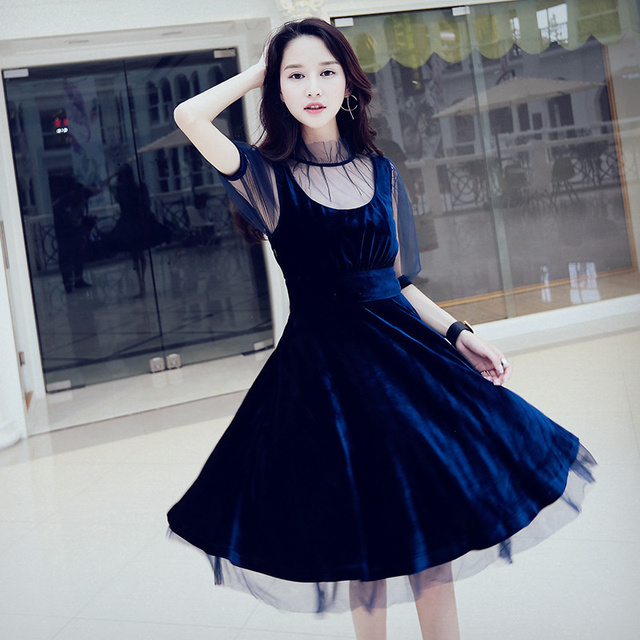 2017 New Latest Arrival Fashion Women Spring Autumn Velvet Lace Viole With Blue Vintage Elegant Dress A Line High Quality