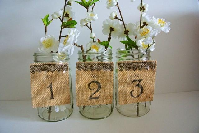 TABLE NUMBERS BURLAP 1 20 Wedding Centerpiece Mason Jars Country ...