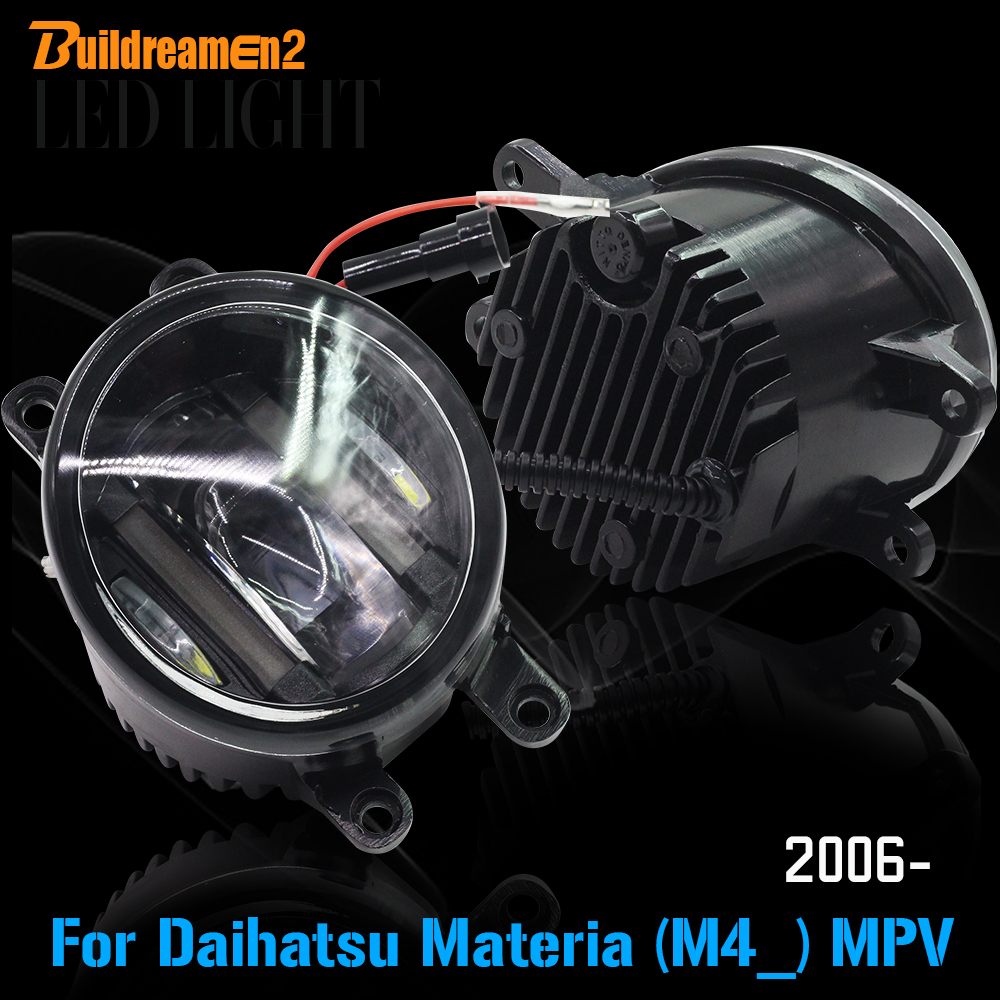 Buildreamen2 2 X Car LED Front Fog Light Daytime Running Light DRL White Accessories For Daihatsu Materia (M4_) MPV 2006 Up cawanerl 2 x car led fog light drl daytime running lamp accessories for nissan note e11 mpv 2006