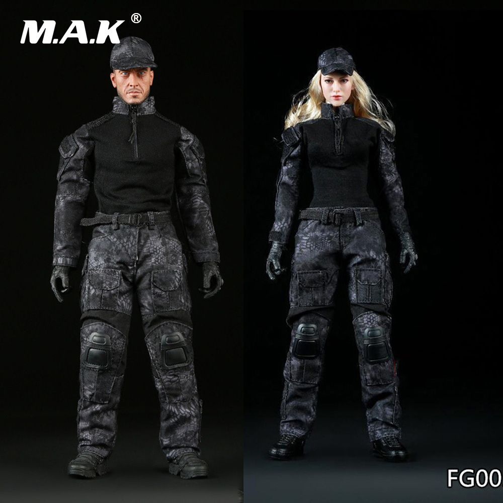 1:6 Scale Female/Male Clothe Black Python Camouflage Combat Uniforms Clothing Suits for 12 inches Action Figure Accessory 1 6 scale figure clothing accessories female combat suit uniforms for 12 action figure doll not included body head and weapon