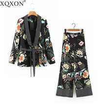67d439ac7 Women's suits Vintage Floral Print Blazer Feminine Tops Kimono Blazer jacket  And Wide Leg Pant Suits