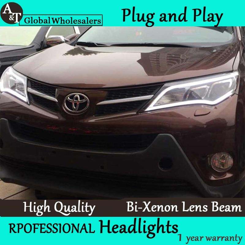 Car Styling for 2014 New RAV4 Headlights RAV4 LED Headlight led DRL Lens Double Beam H7 HID Xenon bi xenon lens hireno car styling headlamp for 2004 2008 peugeot 206 headlight assembly led drl angel lens double beam hid xenon 2pcs