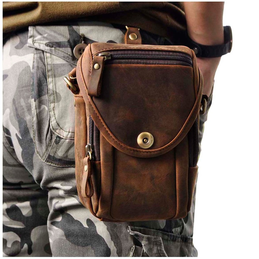 Real Leather Men Design Casual Multifunction Small Messenger Crossbody Bag Fashion Waist Belt Bag Hook Pack 5.5