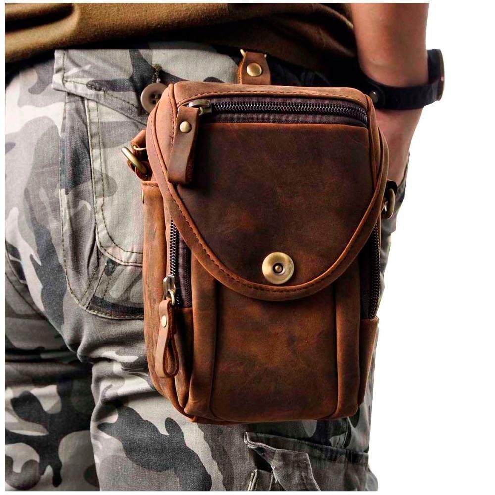 Real Leather Men Design Casual Multifunction Small Messenger Crossbody Bag Fashion Waist Belt Bag Hook Pack 5.5