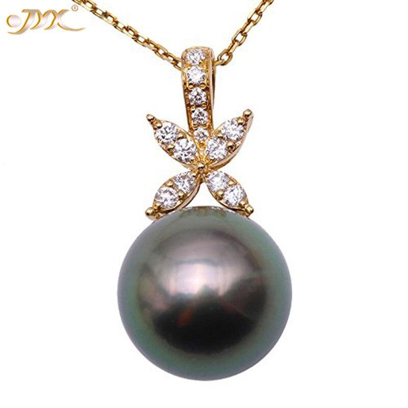 JYX ensemble de bijoux de tahiti en forme de coquille Fine 11-12.5mm pendentif rond en perles de paon vert et boucle doreille en or 18 KJYX ensemble de bijoux de tahiti en forme de coquille Fine 11-12.5mm pendentif rond en perles de paon vert et boucle doreille en or 18 K