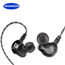 Trumsoon Dual Driver Unit Earphones Running Bass HiFi Earbuds With Mic for Apple Xiaomi phones MP4 PC