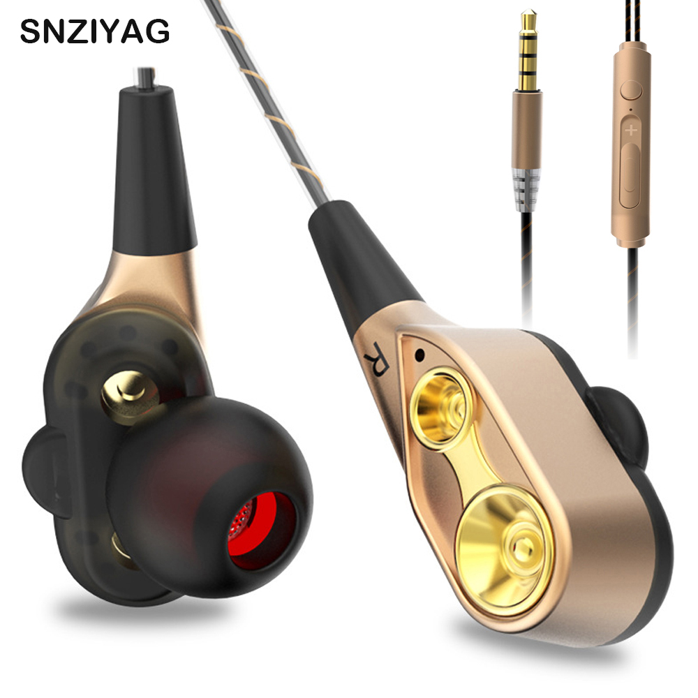 SNZIYAG V3 Wired Earphone High Bass Dual Drive Stereo In-Ear Earphones With Microphone Computer Earbuds For SmartPhone Earphone