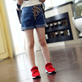 2017 Summer jeans short pants for girls girls denim shorts curling waisted hot pants children clothing