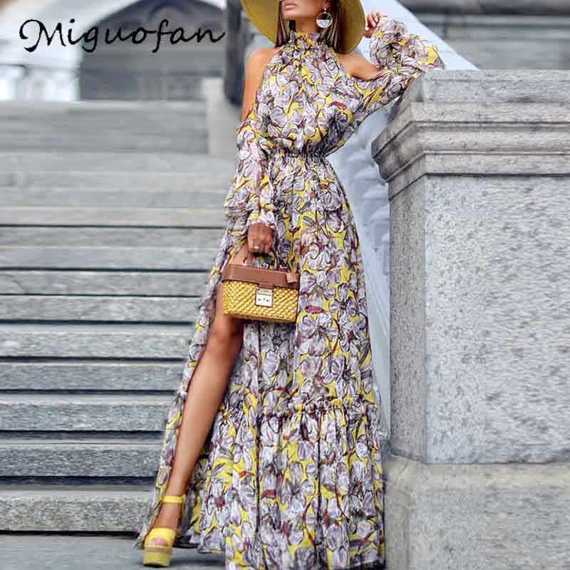 Miguofan Boho Maxi Dress Women Halter Off Shoulder Print Split Summer Long Dress Plus Size Loose Dresses Party Womens Clothing