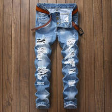 Fashion Light Blue Print Jeans Men Original Brand Jeans Ripped Denim Trousers Men`s Jeans High Quality Motorcycle Jeans Homme
