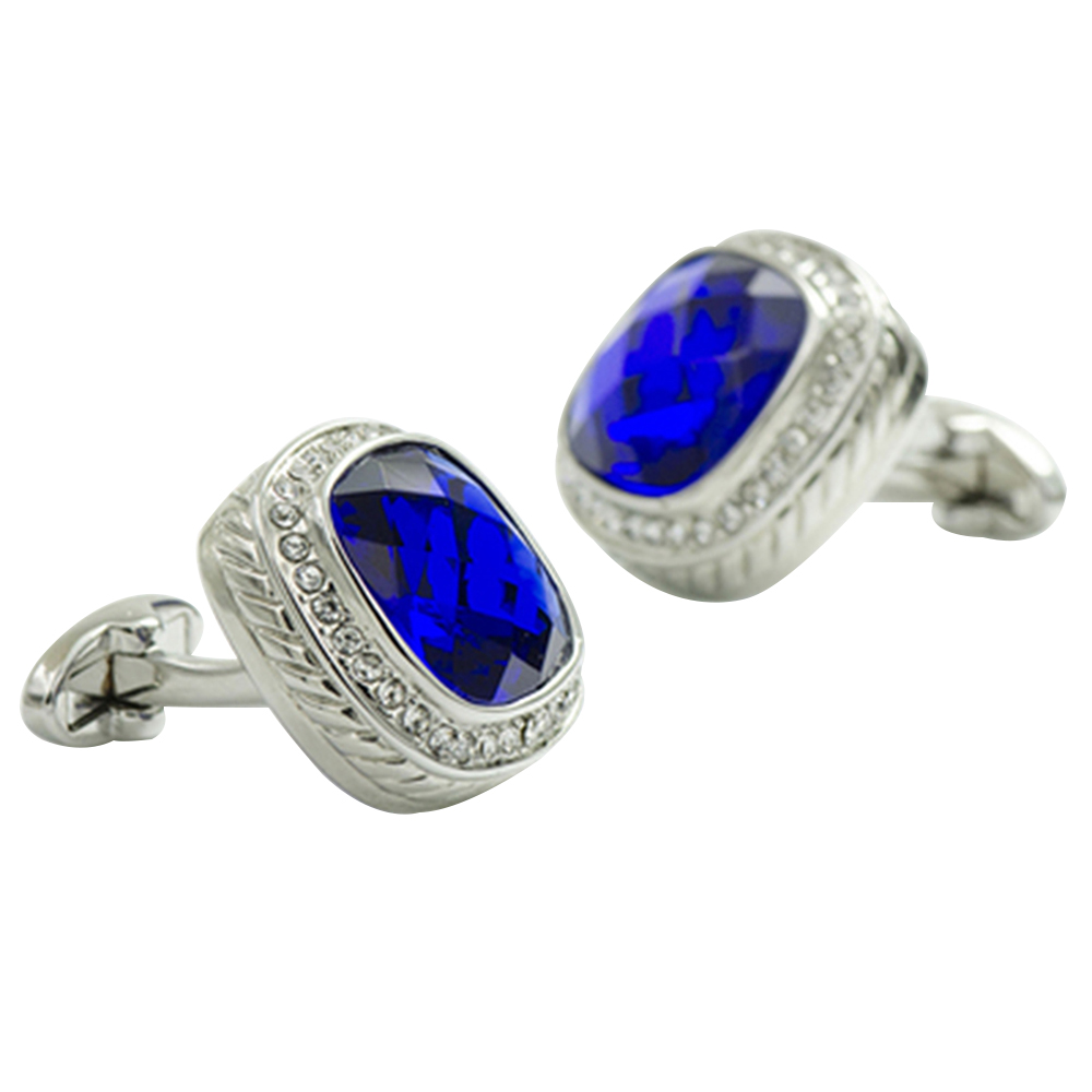 2018 high quality cufflinks for mens blue ston cuff links dazzling luxury brand shirt silver color wedding and father days gift
