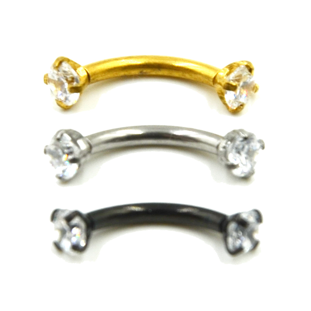 1Pc Internally Thread Cubic Zircon Stainless Steel Curved Barbell Piercing Eyebrow Ring Body Jewelry Retainers