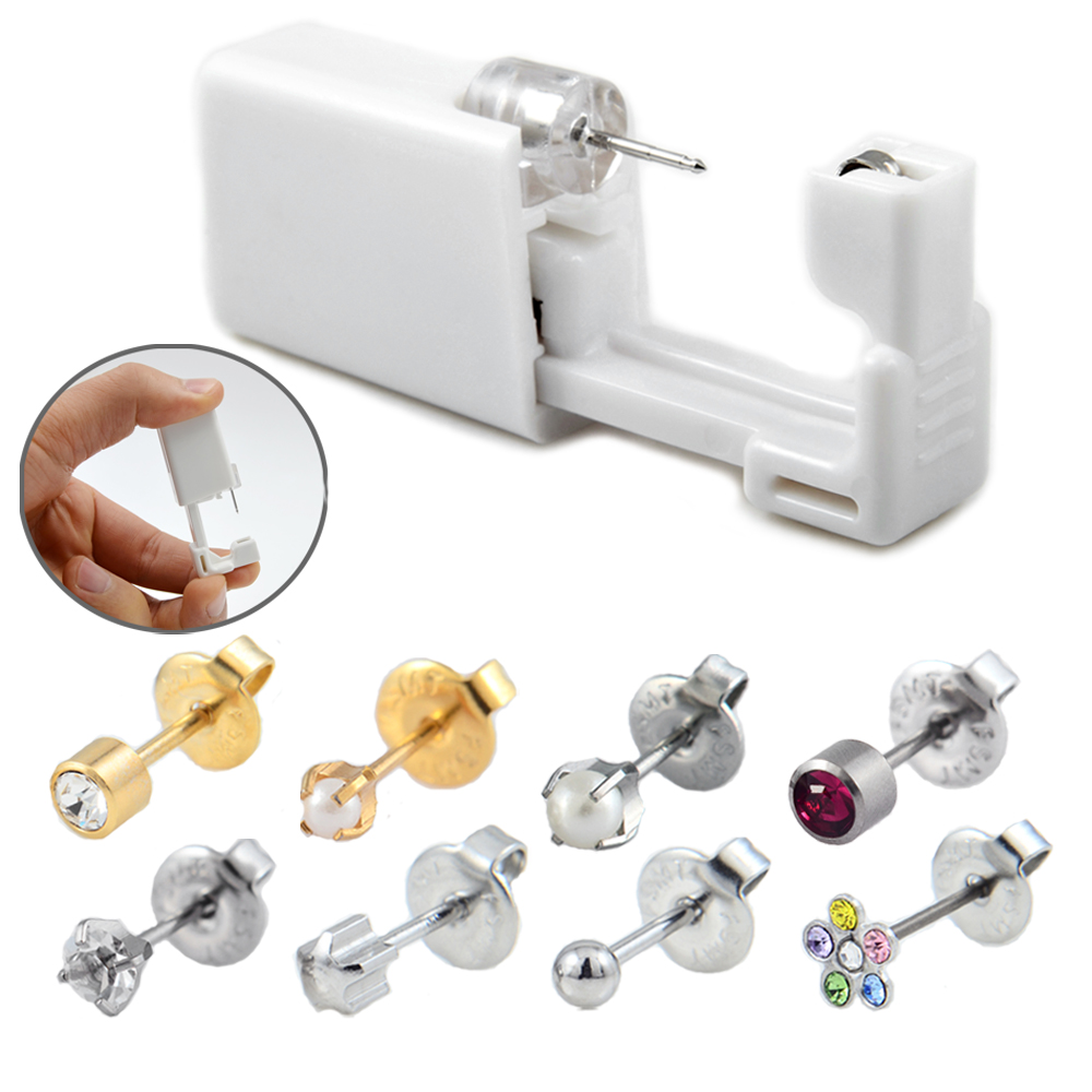 1 Piece Disposable Sterile Ear Piercing Unit Cartilage Tragus Helix Piercing Gun Tool Kit Build In Steel Stud Earring Star Ball