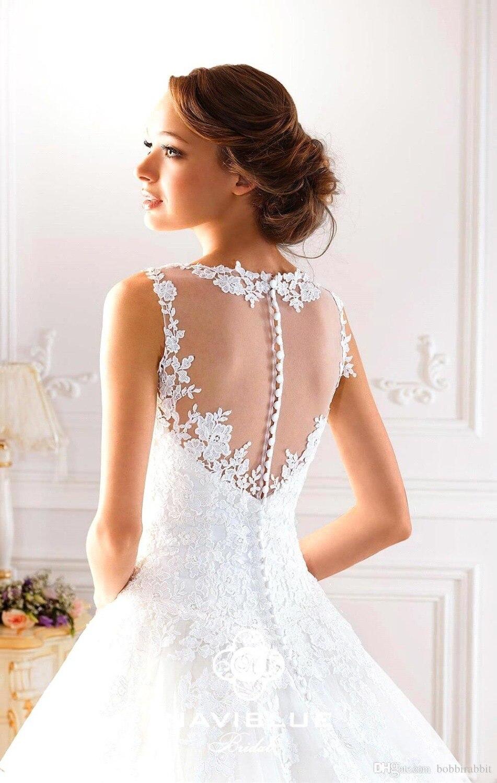Sexy Novia line Illusion Backless Spitze Maß Ausschnitt Vestidos Brautkleid 2017 Im De Brautkleider 2015 Shop Nach A xw1BnIzq