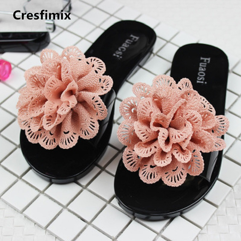 Cresfimix women fashion comfortable floral slippers lady casual spring summer slip on slides female purple flower slippers a394 cresfimix women fashion high quality comfortable slippers lady casual pink beach slip on slippers female leisure soft slippers