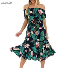 Women Boho Floral Print Off Shoulder Swing Summer Beach Party Dress Sundresses Female 2018 Laipelar