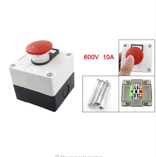 LAY37 Momentary Switch Red Green Mushroom Push Button Station, 600V, 10 Amp цена