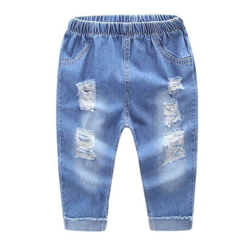2017 Spring Autumn Baby Boys Girls Jeans Kids Broken Denim Pants Toddler Girls Pants Children Dark/Light Blue Clothes for 2-7T