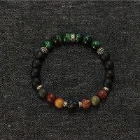 Free Shipping Men Jewelry Wrist Stretch Bracelet Handmade Green Tiger Eye Skull Bracelets With Sterling
