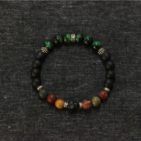 Free Shipping Men Jewelry Wrist Stretch Bracelet Handmade Green Tiger Eye Skull Bracelets With Sterling