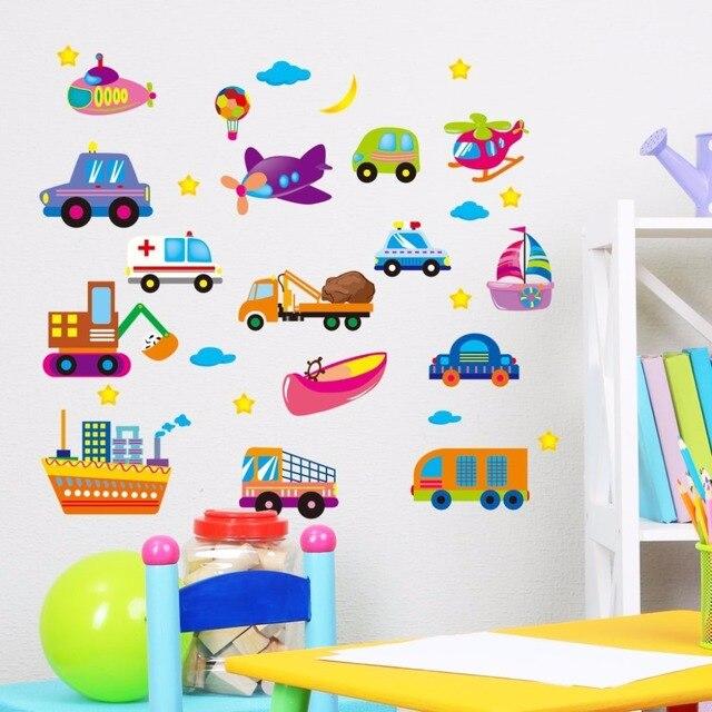 DIY Cartoon Auto Kinderzimmer Jungen Schlafzimmer Dekoration Wandaufkleber  Baby Geschenk Nursery Wandtattoos Home Decor Wandbilder