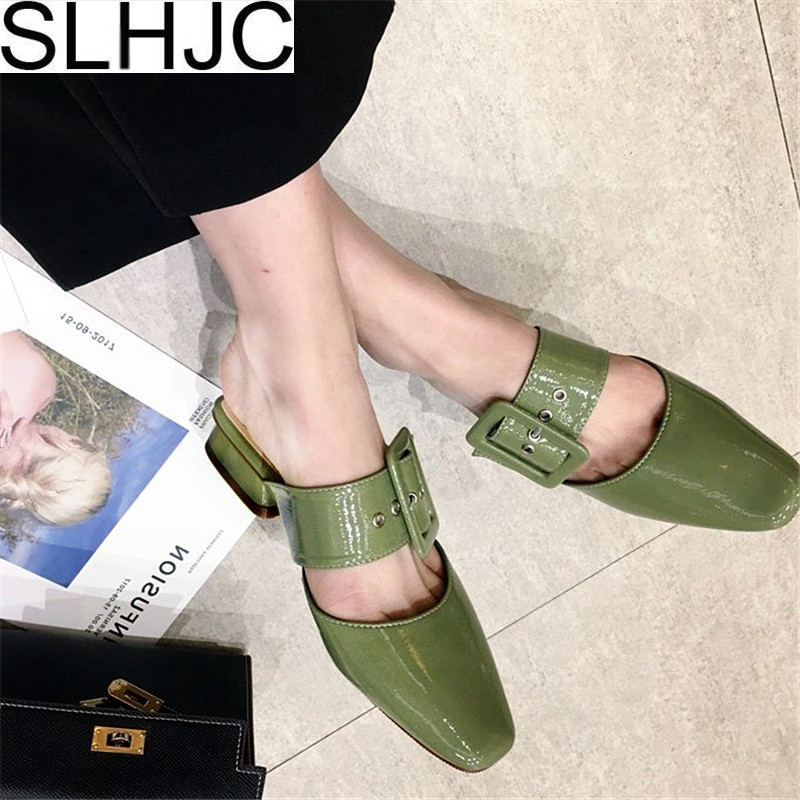 SLHJC Low Heel Leather Pumps Summer Women Square Toe Slip On Sandals Slippers Shoes With Big Buckle Fashion Young Lady Shoes fujin brand 2018 summer shoes for women platform sandals with high heel lady leather shoes footwear pink leather slip on sandals