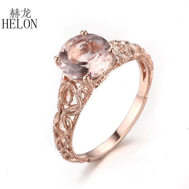 HELON 8mm Round Genuine Morganite Filigree Solid 14K Rose Gold