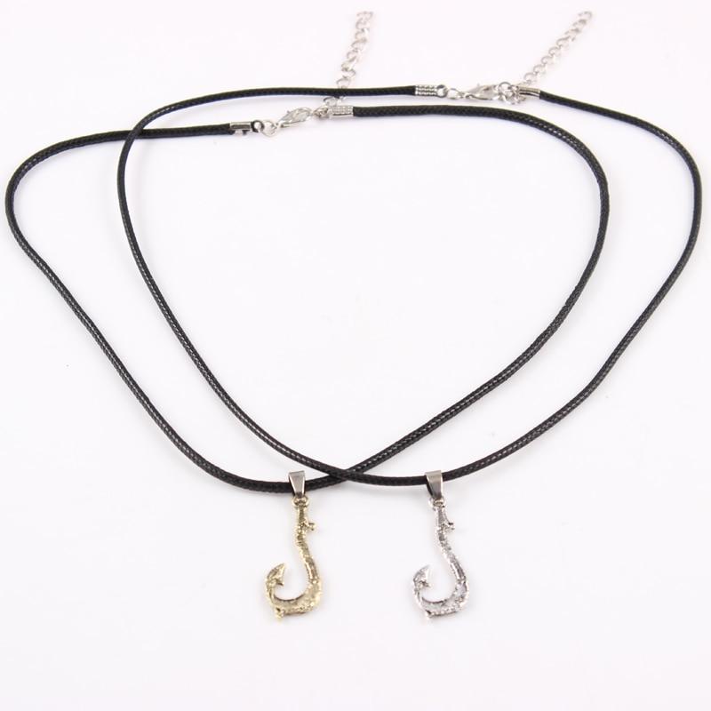 Fishing Hook Pendant with Black Rope Moana Necklace Tuna Hook Pendant Hei Matan Fish Hook font