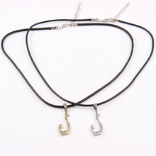 Fishing Hook Pendant with Black Rope Moana Necklace Tuna Hook Pendant Hei Matan Fish Hook Anime,Movie Jewelry for Men