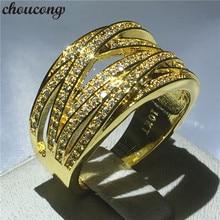 Choucong bague croisée de mariage, 10kt, or jaune, rempli de fiançailles, pour femmes, avec effet pavé, 5A, zircon cz, bijoux, cadeau