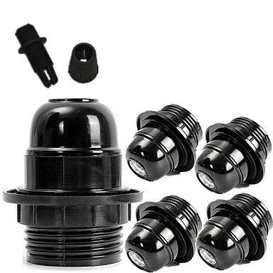 5PCS DIY Black Douille E26 E27 Socket Lamp Holder 110v-220v Fitting E27 Bulb Holder Light Base Plastic