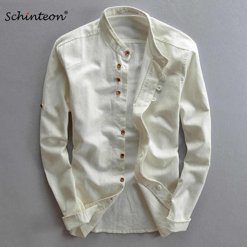 Schinteon 2019 男性綿リネンシャツ長袖カジュアルスリム快適な伝統的な標準中国語襟シャツ M-7XL