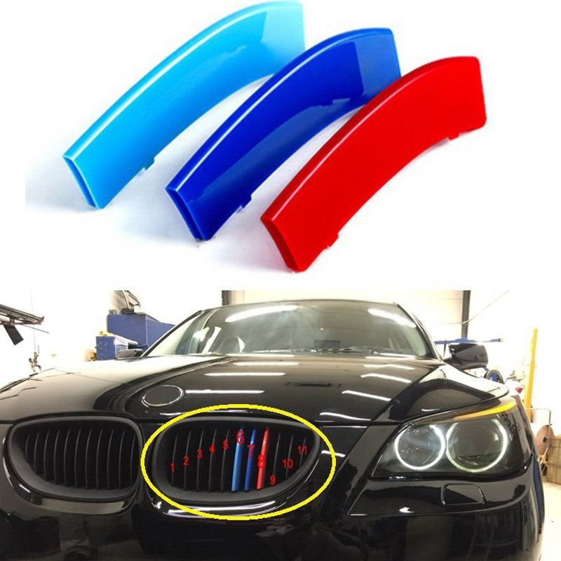 1pc 3D Car Front Grille Trim Sport Strips Cover Stickers Styling Buckle Cover For 2004-2010 <font><b>BMW</b></font> <font><b>5</b></font> <font><b>Series</b></font> <font><b>E60</b></font> Power Accessories image