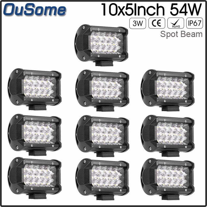 10 pieces 5 inch 54W spot beam 12v offroad car light truck light LED work light